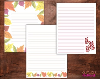 """Printable Fall Leaves Letter Writing Paper 