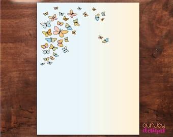 Butterflies | Digital Letter Writing Paper - 8.5x11 inch
