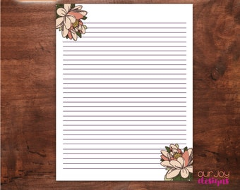 """Simple Pink Floral Printable 8.5 x 11"""" Lined Letter Writing Paper 