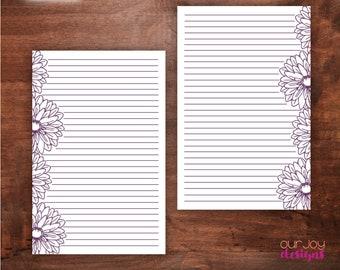 "Purple Floral Outline, Half Letter 5.5 x 8.5"" | JW Printable Letter Writing Paper"