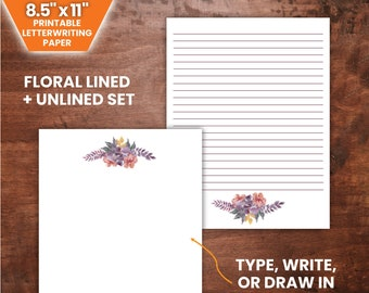 """PRINTABLE Purple Floral Bunch Letterwriting Paper Set   8.5 x 11"""", Lined and Unlined   JW Letterwriting"""