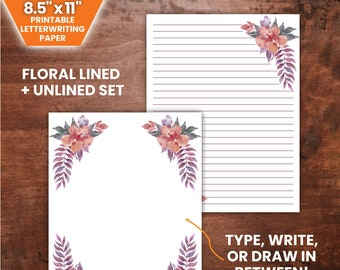 """PRINTABLE Purple Bouquet Letterwriting Set   8.5 x 11"""", Lined and Unlined   JW Letterwriting"""