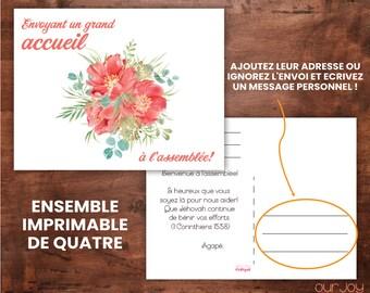 FRENCH Cartes de Bienvenue Imprimables Avec Un Bouquet Rouge, Ensemble Imprimable de Quatre   JW Printable Welcome Postcards
