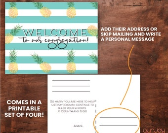 PRINTABLE Pineapple Welcome to the Congregation Postcards   Set of 4, JW Encouragement
