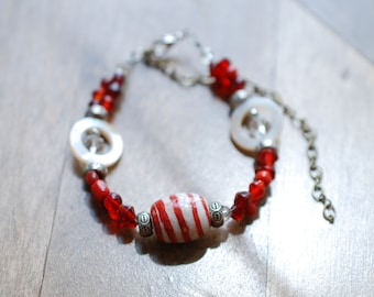 Striped Red & White Bracelet