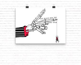 Skeleton Hand With Black Widow Spider Web // Art Print