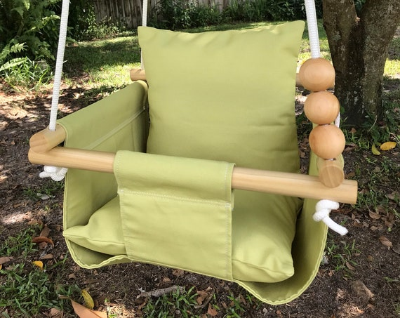 Green Baby Swing Indoor, canvas playroom swing, First Birthday Gift, Baby Shower Gift, Toddler Swing, Citron green swing, Nursery swing