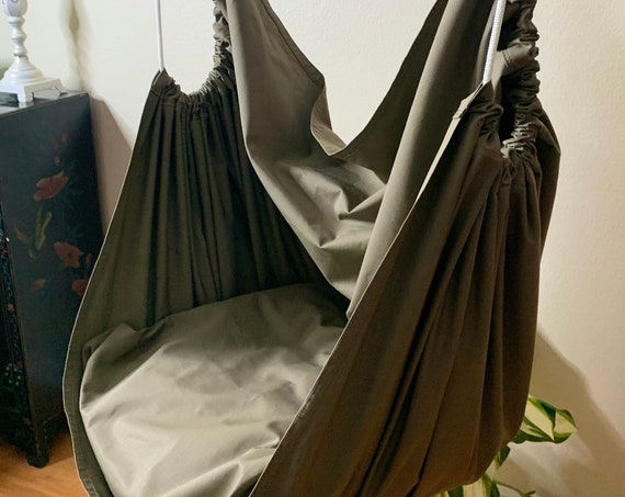 Hammock chair swing, Ripstop canvas porch or playroom chair swing, adult teen child sensory hammock chair, reading nook hammock