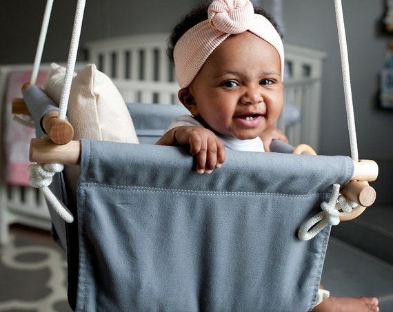 Gray Baby Swing Indoor, Dark gray canvas playroom swing. Toddler Swing, First Birthday Gift, Baby Shower Gift, Baby Nursery Decor