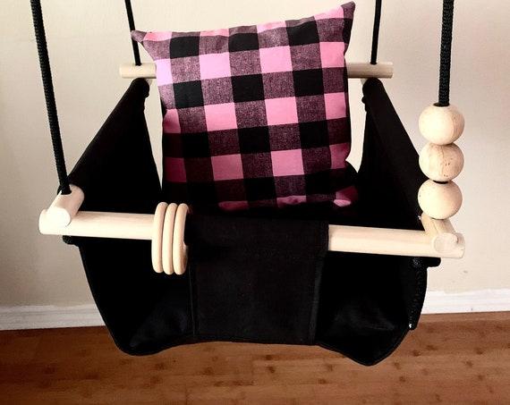 Black Baby Swing Indoor, Buffalo Plaid playroom swing, Baby Shower Gift, First Birthday Gift, Toddler Swing, Nursery swing