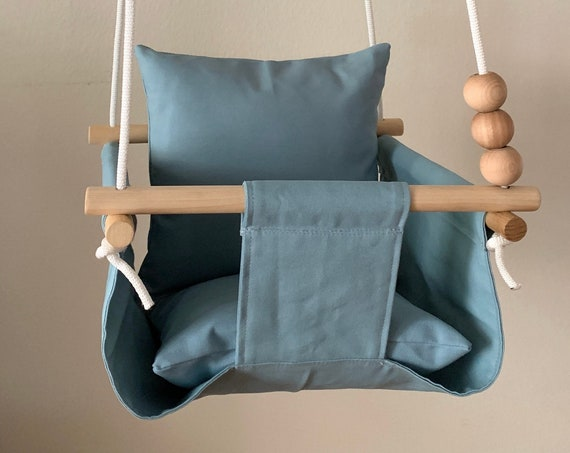 Light Blue Baby Swing Indoor, Light Blue indoor canvas playroom swing, First Birthday Gift, Baby Shower Gift, Toddler swing, Nursery swing