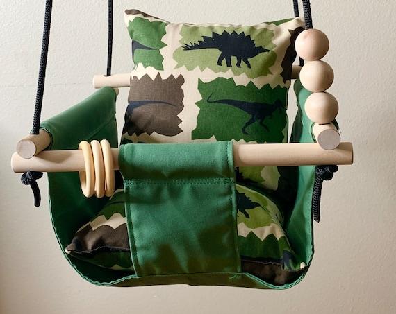 Green Baby Swing Indoor, canvas playroom swing, Dinosaur nursery,  First Birthday Gift, Baby Shower Gift, Toddler Swing, Nursery decor swing
