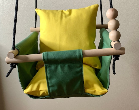 Green Baby Swing Indoor, Green canvas playroom swing, First Birthday Gift, Baby Shower Gift, Toddler Swing, John Deere nursery swing decor