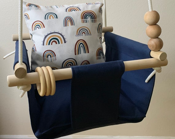 Navy Baby Swing Indoor, Navy canvas Playroom Swing, Toddler Swing, 1st Birthday Gift, Baby Shower Gift, Rainbow Nursery Swing