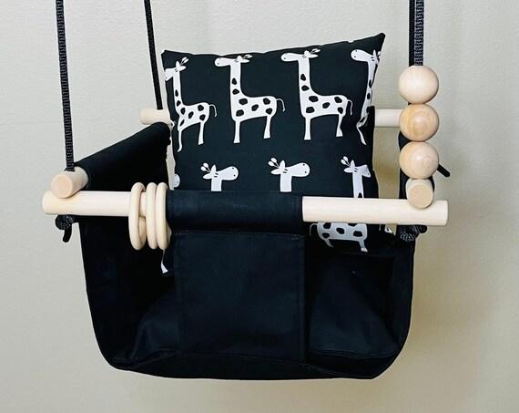 Black Baby Swing, Giraffe decor Playroom swing, Toddler Swing, First Birthday Gift, Baby Shower Gift, Giraffe Nursery swing