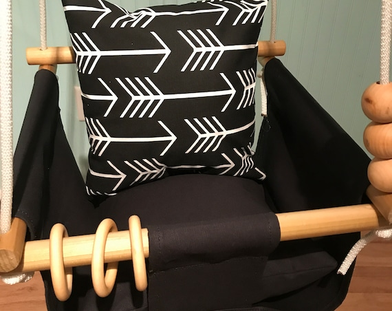Arrow Baby Swing Toddler, Black Canvas Playroom Swing, First Birthday Gift, Baby Shower gift, Toddler swing, Fabric Swing, Porch swing