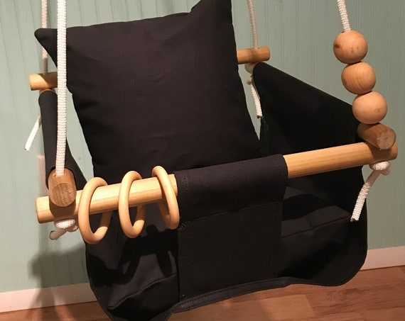 Black Baby Swing Indoor, Black canvas Playroom swing,  Toddler swing, 1st Birthday gift ideas, Baby shower gift idea, Nursery swing decor,
