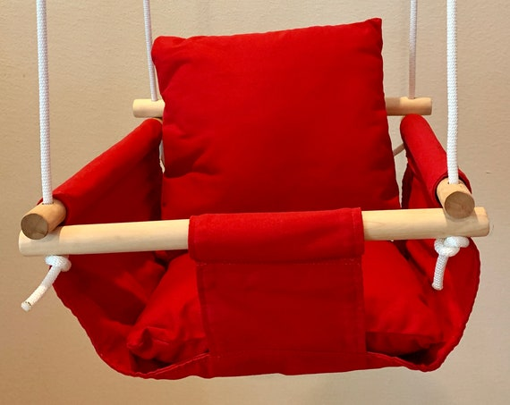 Red Baby Swing Indoor, Playroom swing, Red nursery playroom decor, First Birthday Gift, Baby Shower Gift, Toddler Swing, Polka Dot Decor