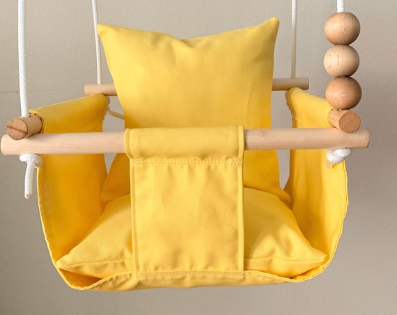Yellow Baby Swing Indoor, canvas playroom swing, First Birthday Gift, Baby Shower Gift, Toddler Swing, Fabric Swing, Nursery swing
