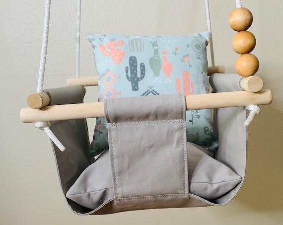 Gray Baby Swing Indoor, Light gray canvas playroom swing, Toddler Swing, First Birthday gift, Baby shower gift, Llama nursery decor