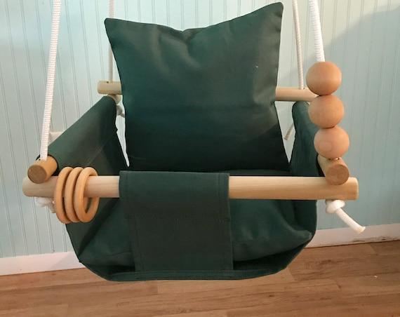 Hunter green Baby Swing Indoor, Green canvas playroom swing, First Birthday Gift, Baby Shower Gift, Toddler Swing, Nursery  Swing