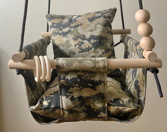 Digital camo military baby swing indoor, Playroom canvas swing, Baby Shower Gift, 1st Birthday Gift, Nursery swing decor, Child's Swing