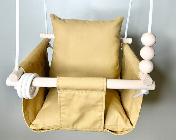 Baby swing Indoor, Gold canvas Playroom swing, Baby Shower Gift, Toddler Swing, 1st Birthday Gift, nursery swing decor