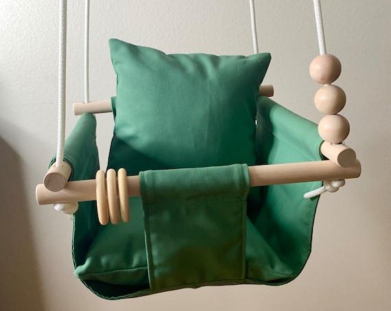 Green Baby Swing Indoor, John Deere Green canvas playroom swing, First Birthday Gift, Baby Shower Gift, Toddler Swing, Nursery Swing decor