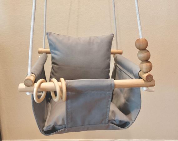 Dark gray baby swing indoor, Canvas playroom swing, First Birthday Gift, Baby shower Gift, Toddler swing, Child's fabric swing