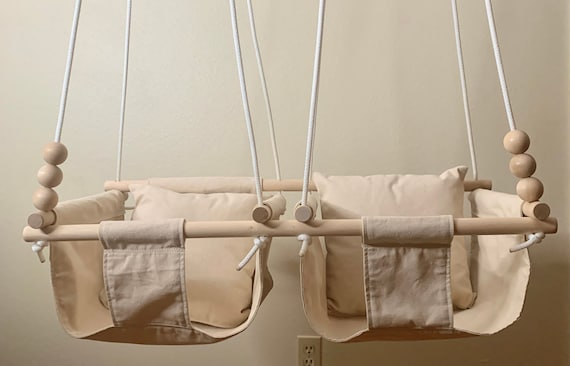 Natural twin's Baby Swing Indoor, Twin's canvas nursery swing, playroom swing, Twin's First birthday gift, Twin's Baby Shower, Toddler Swing