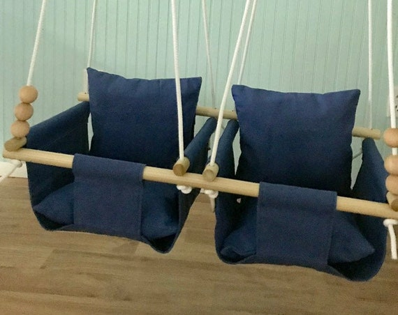 Navy Twin's Baby Swing Indoor, canvas baby swing, Toddler Playroom Swing, Twin's Baby shower gift idea, Twin's 1st Birthday gift idea