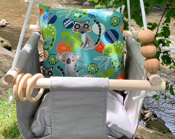 Gray Baby Swing Indoor, Canvas playroom Swing,  Nursery decor, First Birthday Gift, Baby Shower Gift, Toddler swing, child's swing