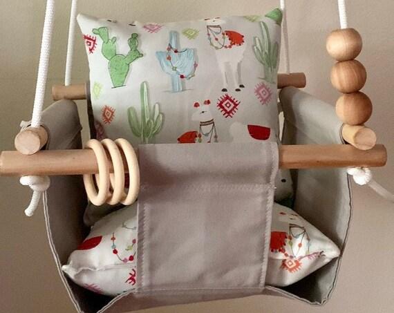 Gray Baby Swing Indoor, Llama Love  Playroom swing, First Birthday Gift, Baby Shower Gift, Toddler Swing, Nursery Swing
