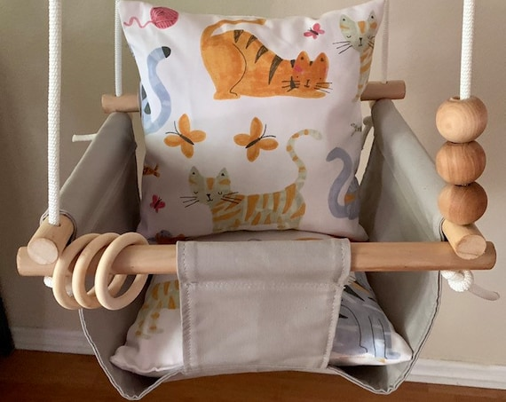 Gray Baby Swing Indoor, canvas playroom swing indoor, First Birthday Gift, Baby Shower Gift, Toddler Swing, Fabric Swing, Cat nursery decor