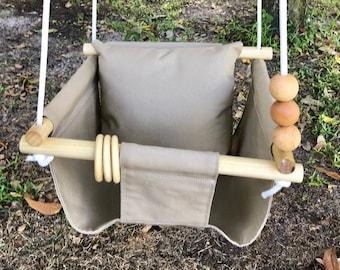 Khaki Baby Swing Toddler, canvas toddler playroom swing, First Birthday Gift, Baby Shower Gift, Fox or Llama Baby Nursery Decor