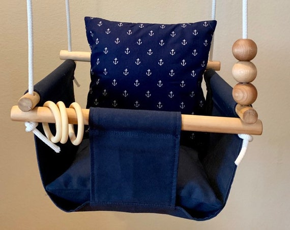 Navy Baby Swing Indoor , Baby Nautical Indoor Navy Blue Swing, First Birthday Gift, Baby Shower Gift, Nautical anchor nursery, Toddler Swing