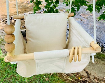 Natural Baby Swing Indoor, Canvas fabric playroom swing, First Birthday Gift, Baby Shower Gift, Boho Baby nursery swing, Toddler Swing