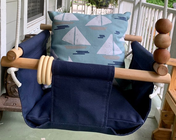 Sailboat  Navy Baby Indoor Swing,  canvas playroom swing, First Birthday Swing, Baby Shower Gift, Toddler Swing, Nautical Baby Nursery
