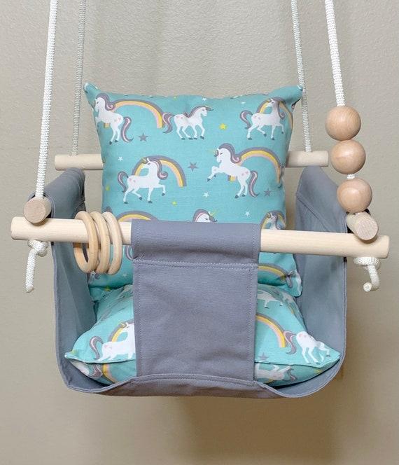 Unicorn Baby Swing Indoor, Natural canvas playroom swing, Toddler Swing, 1st Birthday Gift, Baby Shower gift, Boho Nursery Decor Swing