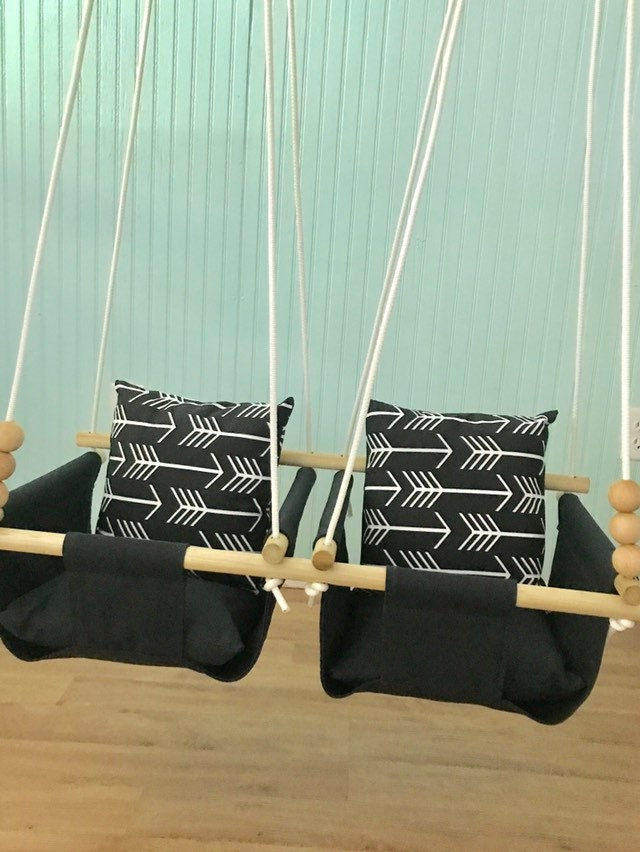 Double Baby Swing Twins Black Arrow BFF First Birthday GiftTwins Shower Gift Canvas