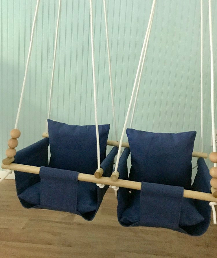 Twins Baby Swing Double First Birthday Gift Shower Nursery Decor Toddler