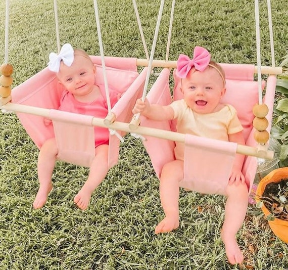 Pink Baby Swing Indoor, Twin's baby canvas playroom swing, Twin's 1st First Birthday, Twin's Baby Shower gift,  swing, Nursery swing decor