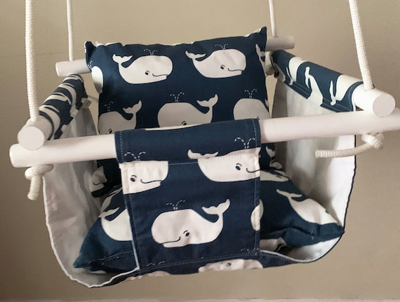 Whale Baby Swing Indoor, Canvas Playroom Swing, Whales nursery decor, First Birthday Gift, Baby Shower Gift, Toddler swing
