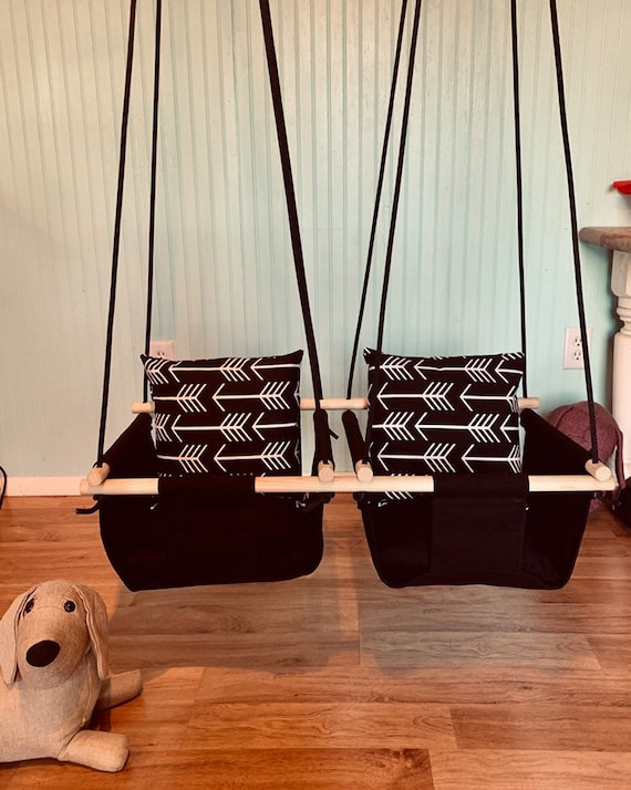 Twin's Baby Swing Indoor, Twin's Black Canvas Playroom Swing, Twin's 1st Birthday Gift, Twin's Baby Shower, Toddler Swing, Fabric Baby Swing