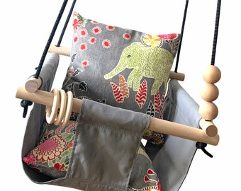 Baby Swing, Dark gray swing with safari animal pillows, Playroom decor, Toddler swing, 1st birthday gift, Baby Shower gift, Nursery decor
