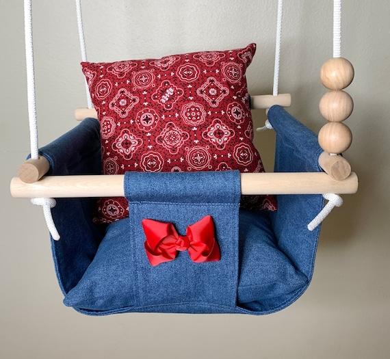 Denim baby swing, Western cowgirl nursery decor, Child's playroom swing, 1st Birthday gift, Baby shower gift, Toddler swing