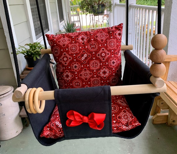 Black Baby Swing Indoor, Canvas Baby Cowgirl Or Cowboy Playroom Swing, First Birthday Gift, Baby Shower Gift, Toddler swing