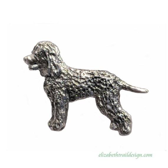 Standing Irish Water Spaniel Sterling Pendant Necklace, Handcrafted Irish Water Spaniel Jewelry Gifts, Original Elizabeth Trail Dog Jewelry