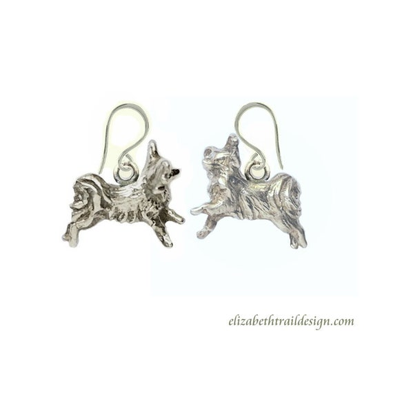Papillon Ear Wires,  Handcrafted Sterling Silver Papillon Jewelry, Elizabeth Trail Dog Jewelry, Papillon Earrings