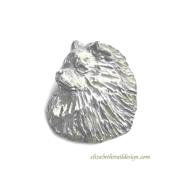 Large Keeshond Head Pin Brooch, Handcrafted Sterling Silver Keeshond Jewelry, Elizabeth Trail Dog Jewelry, Keeshond gift, Keeshonden, Kees